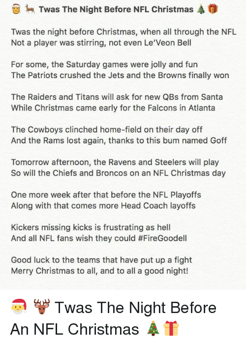 Twas The Night Before Nfl Christmas A Twas The Night Before