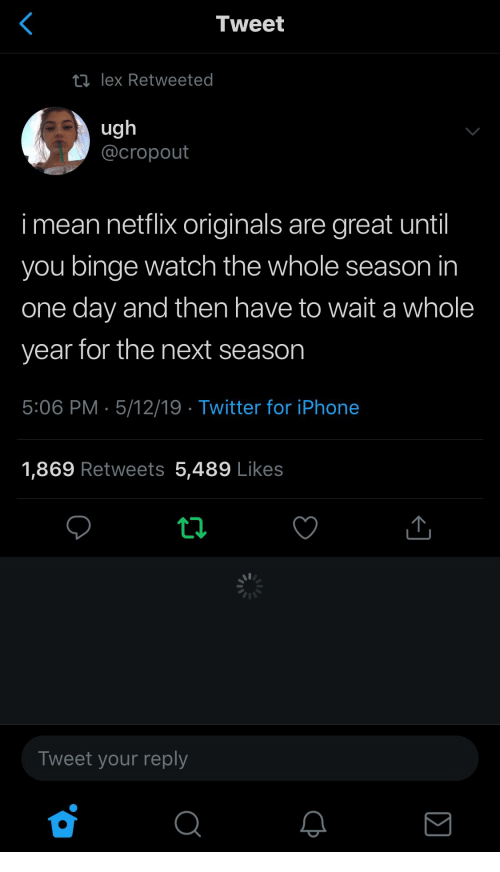 Next Season: Tweet  ロlex Retweeted  ug  @cropout  i mean netflix originals are great until  you binge watch the whole season in  one day and then have to wait a whole  year for the next season  5:06 PM 5/12/19 Twitter for iPhone  1,869 Retweets 5,489 Likes  Tweet your reply