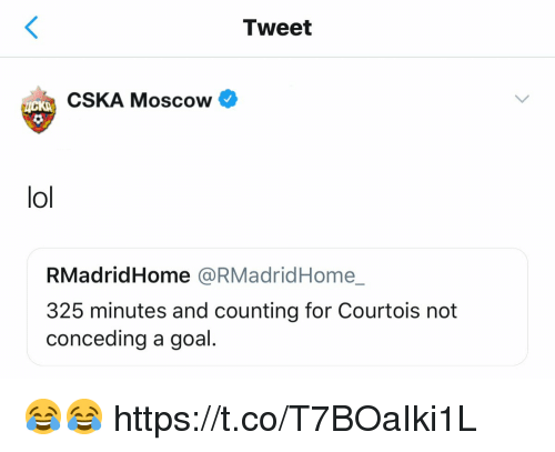 Lol, Memes, and Goal: Tweet  CSKA Moscow  lol  RMadridHome @RMadridHome_  325 minutes and counting for Courtois not  conceding a goal. 😂😂 https://t.co/T7BOaIki1L
