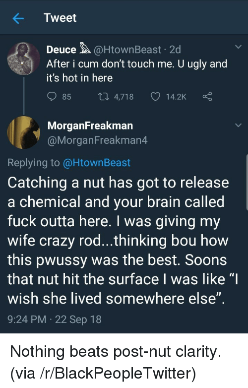 """Post Nut Clarity: Tweet  Deuce@HtownBeast 2d  After i cum don't touch me. U ugly and  it's hot in here  85  4,718  14.2K  MorganFreakman  @MorganFreakman4  Replying to @HtownBeast  Catching a nut has got to release  a chemical and vour brain called  fuck outta here. I was giving my  wife crazy rod...thinking bou how  this pwussy was the best. Soons  that nut hit the surface I was like """"I  wish she lived somewhere else  9:24 PM 22 Sep 18 Nothing beats post-nut clarity. (via /r/BlackPeopleTwitter)"""