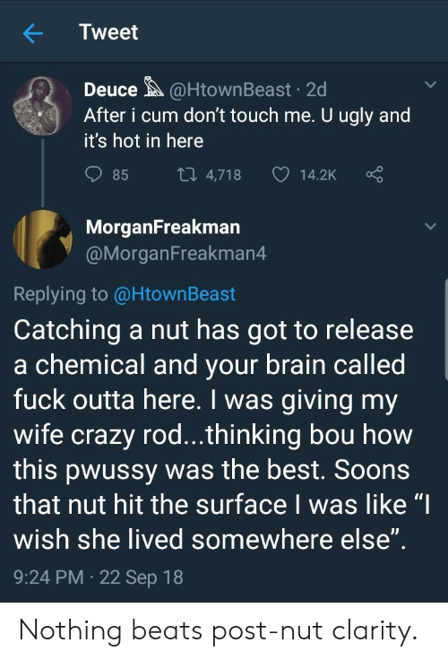 """Post Nut Clarity: Tweet  Deuce@HtownBeast 2d  After i cum don't touch me. U ugly and  it's hot in here  85  4,718  14.2K  MorganFreakman  @MorganFreakman4  Replying to @HtownBeast  Catching a nut has got to release  a chemical and vour brain called  fuck outta here. I was giving my  wife crazy rod...thinking bou how  this pwussy was the best. Soons  that nut hit the surface I was like """"I  wish she lived somewhere else  9:24 PM 22 Sep 18 Nothing beats post-nut clarity."""