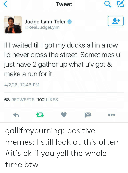 Memes, Run, and Target: Tweet  Judge Lynn Toler  @RealJudgeLynn  If I waited till I got my ducks all in a row  I'd never cross the street. Sometimes u  just have 2 gather up what u'v got &  make a run for it.  4/2/16, 12:46 PM  68 RETWEETS 102 LIKES gallifreyburning: positive-memes: I still look at this often   #it's ok if you yell the whole time btw