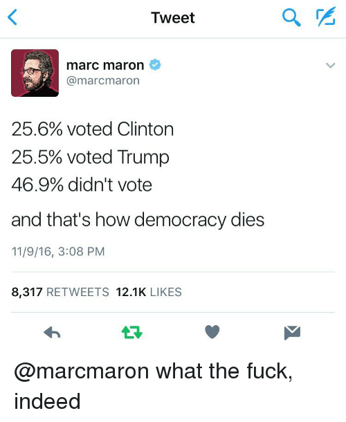 Vote Trump: Tweet  marC maron  (a marcmaron  25.6% voted Clinton  25.5% voted Trump  46.9% didn't vote  and that's how democracy dies  11/9/16, 3:08 PM  8,317  RETWEETS 12.1K  LIKES @marcmaron what the fuck, indeed