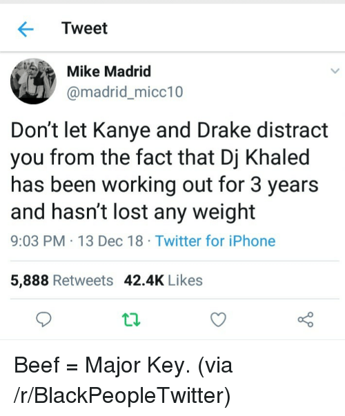 Beef, Blackpeopletwitter, and DJ Khaled: Tweet  Mike Madrid  @madrid_micc10  Don't let Kanye and Drake distract  you from the fact that Dj Khaled  has been working out for 3 years  and hasn't lost any weight  9:03 PM 13 Dec 18 Twitter for iPhone  5,888 Retweets 42.4K Likes Beef = Major Key. (via /r/BlackPeopleTwitter)