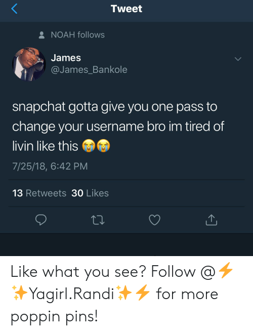 pins: Tweet  NOAH follows  James  @James Bankole  snapchat gotta give you one pass to  change your username bro im tired of  livin like this  7/25/18, 6:42 PM  13 Retweets 30 Likes Like what you see? Follow @⚡✨Yagirl.Randi✨⚡ for more poppin pins!