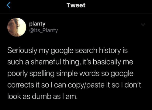 Google Search: Tweet  planty  @lts_Planty  Seriously my google search history is  such a shameful thing, it's basically me  poorly spelling simple words so google  corrects it so I can copy/paste it so l don't  look as dumb as lam.