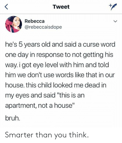 "Curse Word: Tweet  Rebecca  @rebeccaisdope  he's 5 years old and said a curse word  one day in response to not getting his  way.i got eye level with him and told  him we don't use words like that in our  house. this child looked me dead in  my eyes and said ""this is an  apartment, not a house""  bruh. Smarter than you think."