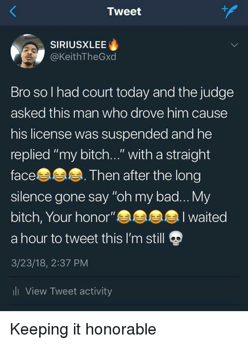 """honorable: Tweet  SIRIUSXLEE  @KeithTheGxd  Bro so l had court today and the judge  asked this man who drove him cause  his license was suspended and he  replied """"my bitch..."""" with a straight  face  silence gone say """"oh my bad... My  bitch, Your honor""""  a hour to tweet this I'm still  3/23/18, 2:37 PM  li View Tweet activity  Then after the long  I waited Keeping it honorable"""