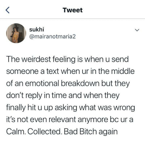 Emotional Breakdown: Tweet  sukhi  @mairanotmaria2  The weirdest feeling is when u send  someone a text when ur in the middle  of an emotional breakdown but they  don't reply in time and when they  finally hit u up asking what was wrong  it's not even relevant anymore bc ur a  Calm. Collected. Bad Bitch again