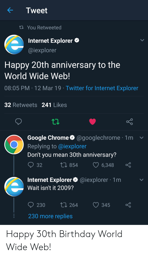 Internet Explorer: Tweet  ti You Retweeted  Internet Explorer  @iexplorer  Happy 20th anniversary to the  World Wide Web!  08:05 PM 12 Mar 19 Twitter for Internet Exploren  32 Retweets 241 Likes  Google Chrome@googlechrome1  Replying to @iexploren  Don't you mean 30th anniversary?  854  6348  Internet Explorer@iexplorer 1m  Wait isn't it 2009?  230 264 345 o  230 more replies Happy 30th Birthday World Wide Web!