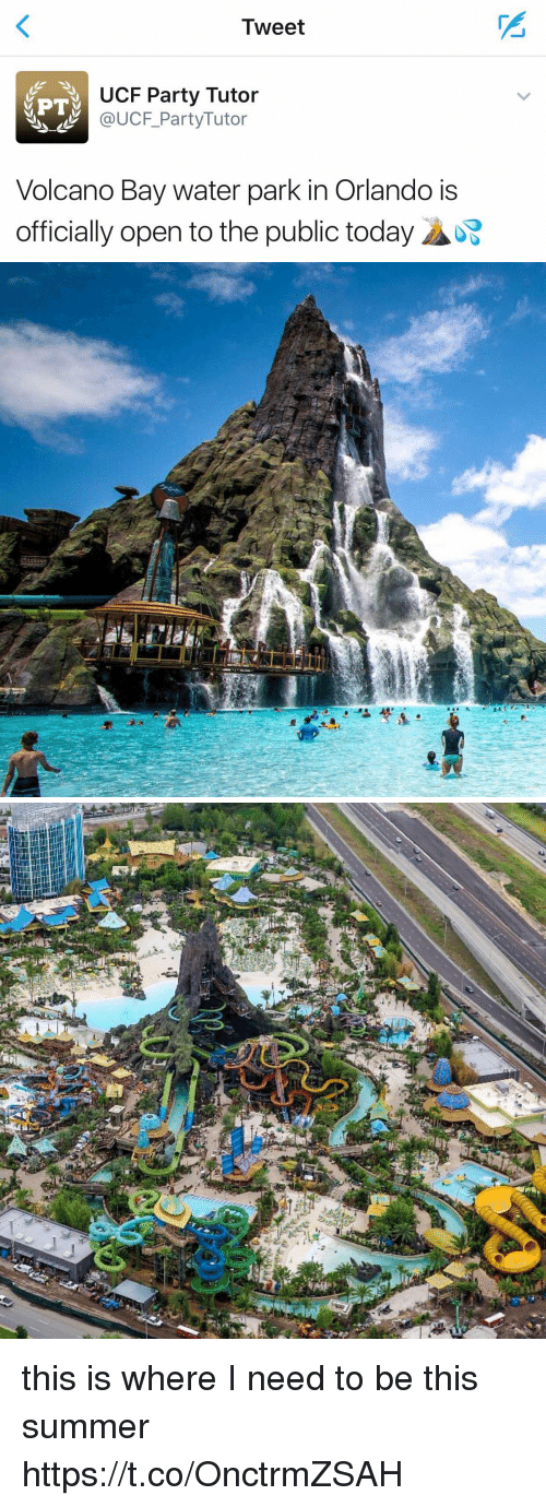 Party, Summer, and Orlando: Tweet  UCF Party Tutor  MPT  UCF Party Tutor  Volcano Bay water park in Orlando is  officially open to the public today  ADE   !塵 this is where I need to be this summer https://t.co/OnctrmZSAH