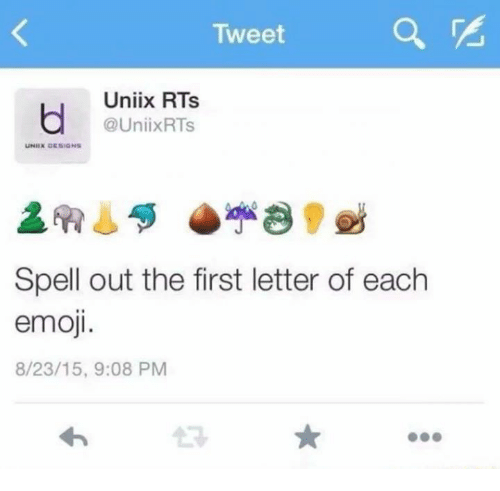 Unix: Tweet  Unix RTs  @Unix RTs  UNIIN DESIGNS  Spell out the first letter of each  emoji.  8/23/15, 9:08 PM