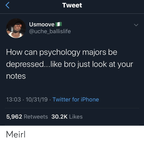 Just Look: Tweet  Usmoove  @uche_ballislife  How can psychology majors be  depressed...like bro just look at your  notes  13:03 10/31/19 Twitter for iPhone  5,962 Retweets 30.2K Likes Meirl