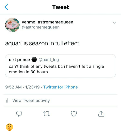 Pant: Tweet  venmo: astromemequeen  @astromemequeen  aquarius season in full effect  dirt prince@pant_leg  can't think of any tweets bc i haven't felt a single  emotion in 30 hours  9:52 AM.1/23/19 Twitter for iPhone  li View Tweet activity 🤫