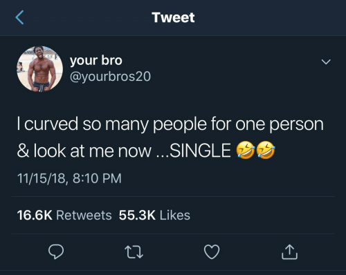 18 8: Tweet  your bro  @yourbros20  I curved so many people for one person  & look at me now ...SINGLE  11/15/18, 8:10 PM  16.6K Retweets 55.3K Likes