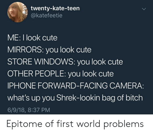 18 8: twenty-kate-teen  @katefeetie  ME: I look cute  MIRRORS: you look cute  STORE WINDOWS: you look cute  OTHER PEOPLE: you look cute  IPHONE FORWARD-FACING CAMERA:  what's up you Shrek-lookin bag of bitch  6/9/18, 8:37 PM Epitome of first world problems