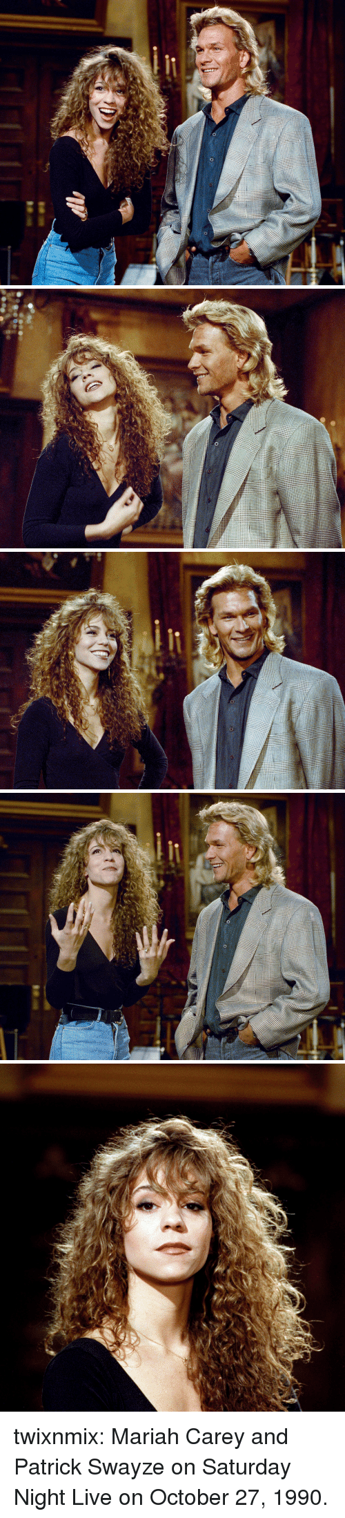 Mariah Carey, Saturday Night Live, and Tumblr: twixnmix:  Mariah Carey and Patrick Swayze on Saturday Night Live on October 27, 1990.