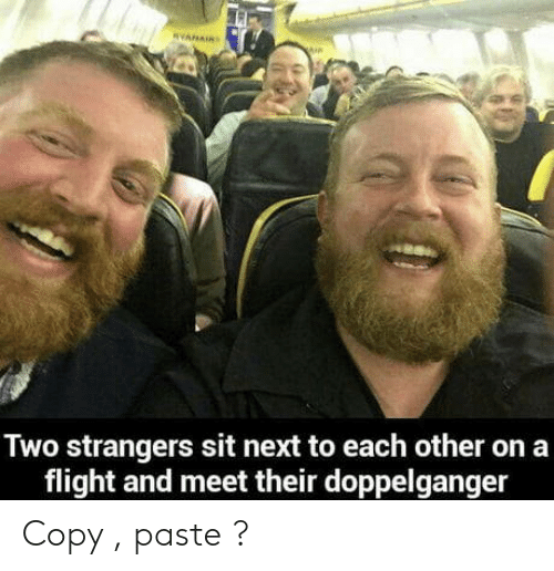 Doppelganger, Flight, and Next: Two strangers sit next to each other on a  flight and meet their doppelganger Copy , paste ?