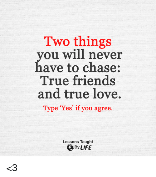 Taughting: Two things  you will never  have to chase:  True friends  and true love.  Type 'Yes' if you agree.  Lessons Taught  By LIFE <3