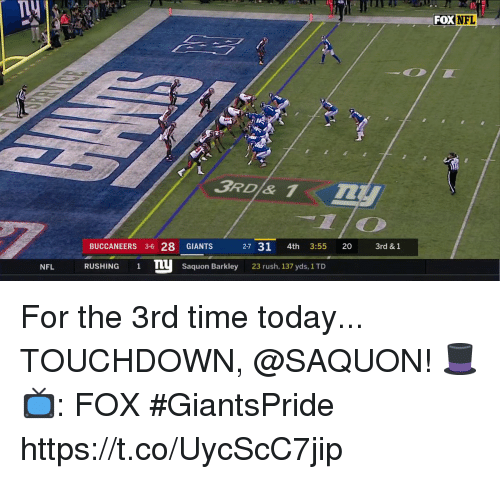 Memes, Nfl, and Giants: Ty  FOX NFL  BUCCANEERS 3-6 28 GIANTS  RUSHING1TSaquon Barkley  2-7 31 4th 3:55 20 3  3rd & 1  NFL  23 rush, 137 yds, 1 TD For the 3rd time today...  TOUCHDOWN, @SAQUON! 🎩  📺: FOX #GiantsPride https://t.co/UycScC7jip