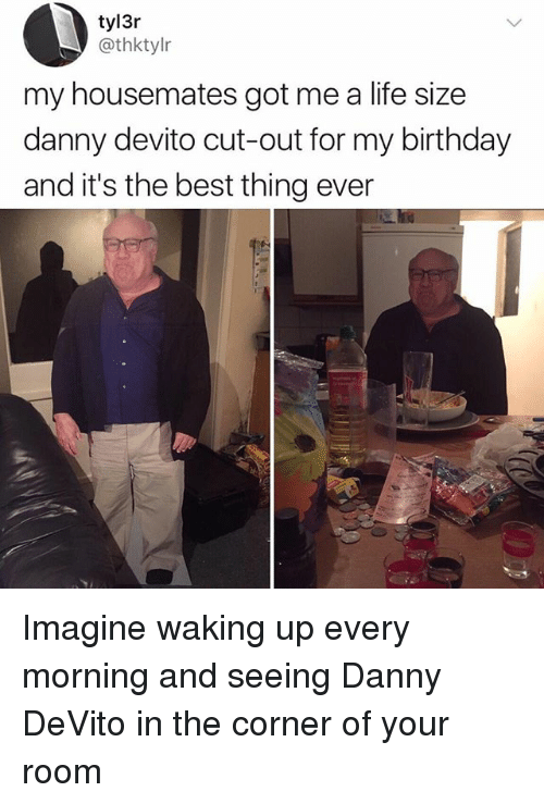 life size: tyl3r  @thktylr  my housemates got me a life size  danny devito cut-out for my birthday  and it's the best thing ever Imagine waking up every morning and seeing Danny DeVito in the corner of your room