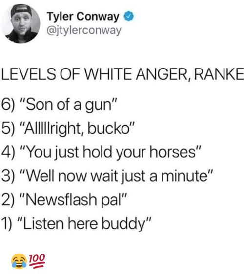 "Conway: Tyler Conway  @jtylerconway  LEVELS OF WHITE ANGER, RANKE  6) ""Son of a gun""  5) ""Allllright, bucko""  4) ""You just hold your horses""  3) ""Well now wait just a minute""  2) ""Newsflash pal""  1) ""Listen here buddy"" 😂💯"