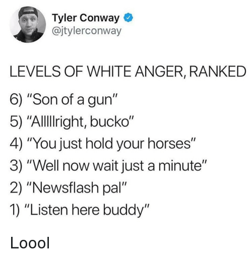 "Conway: Tyler Conway *  @jtylerconway  LEVELS OF WHITE ANGER, RANKED  6) ""Son of a gun""  5) ""Alllright, bucko""  4) ""You just hold your horses""  3) ""Well now wait just a minute""  2) ""Newsflash pal""  1) ""Listen here buddy"" Loool"
