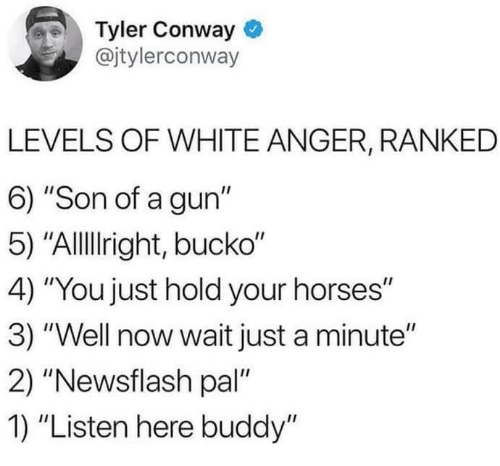 "Conway: Tyler Conway  @jtylerconway  LEVELS OF WHITE ANGER, RANKED  6) ""Son of a gun""  5) ""Allllright, bucko""  4) ""You just hold your horses""  3) ""Well now wait just a minute""  2) ""Newsflash pal""  1) ""Listen here buddy"""