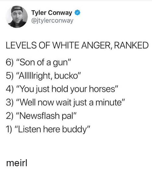 "Conway: Tyler Conway  @jtylerconway  LEVELS OF WHITE ANGER, RANKED  6) ""Son of a gun""  5) ""Allllright, bucko""  4) ""You just hold your horses""  3) ""Well now wait just a minute""  2) ""Newsflash pal  1) ""Listen here buddy"" meirl"