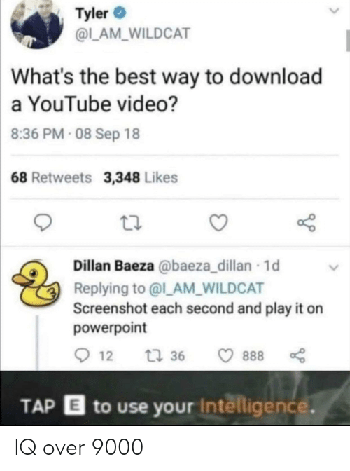 the best way to: Tyler  @L_AM_WILDCAT  What's the best way to download  a YouTube video?  8:36 PM- 08 Sep 18  68 Retweets 3,348 Likes  Dillan Baeza @baeza_dillan 1d  Replying to @l_AM_WILDCAT  Screenshot each second and play it on  powerpoint  12  t 36  888  TAP E to use your Intelligence. IQ over 9000
