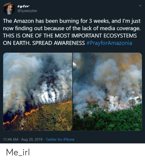 Amazon, Iphone, and Twitter: tyler  @tyswizzlee  The Amazon has been burning for 3 weeks, and I'm just  now finding out because of the lack of media coverage.  THIS IS ONE OF THE MOST IMPORTANT ECOSYSTEMS  ON EARTH. SPREAD AWARENESS #PrayforAmazonia  11:44 AM Aug 20, 2019 Twitter for iPhone Me_irl