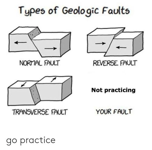 Practicing, Fault, and Not: Types of Geologic Faults  NORAL FAULT  REVERSE FAULT  Not practicing  TRANSVERSE FAULT  YOUR FAULT go practice
