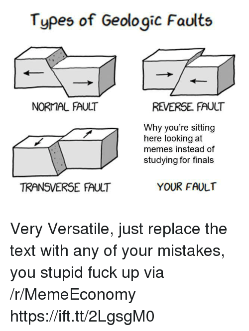 Finals, Memes, and Fuck: Types of Geologic Faults  NORMAL FAULT  REVERSE FAULT  Why you're sitting  here looking at  memes instead of  studying for finals  TRANSVERSE FAULT  YOUR FAULT Very Versatile, just replace the text with any of your mistakes, you stupid fuck up via /r/MemeEconomy https://ift.tt/2LgsgM0
