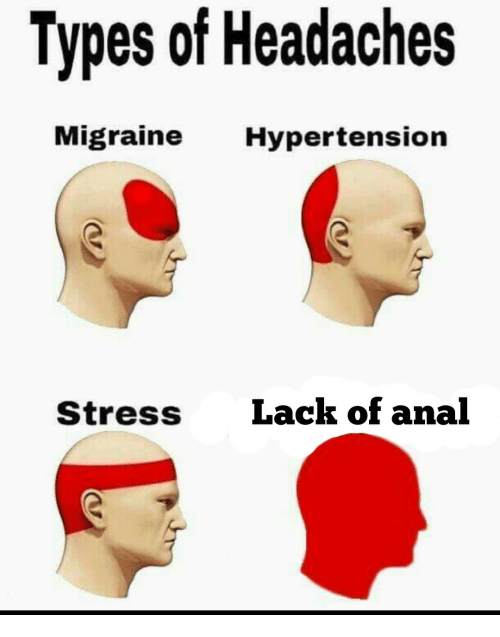 Anal, Migraine, and Stress: Types of Headaches  Migraine Hypertension  Stress  Lack of anal