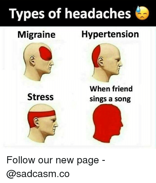 Memes, Migraine, and A Song: Types of headaches  Migraine  Hypertension  When friend  sings a song  Stress Follow our new page - @sadcasm.co