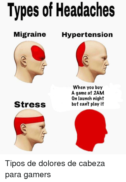 Game, Migraine, and A Game: Types of Headaches  Migraine Hypertension  When you buy  A game at 2AM  On launch night  but can't play it  StressS <p>Tipos de dolores de cabeza para gamers</p>
