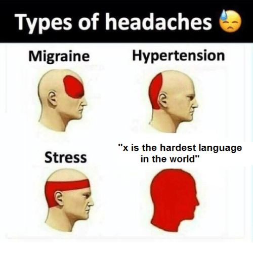 """Migraine, World, and Stress: Types of headaches  Migraine  Hypertension  """"x is the hardest language  Stress  in the world"""""""