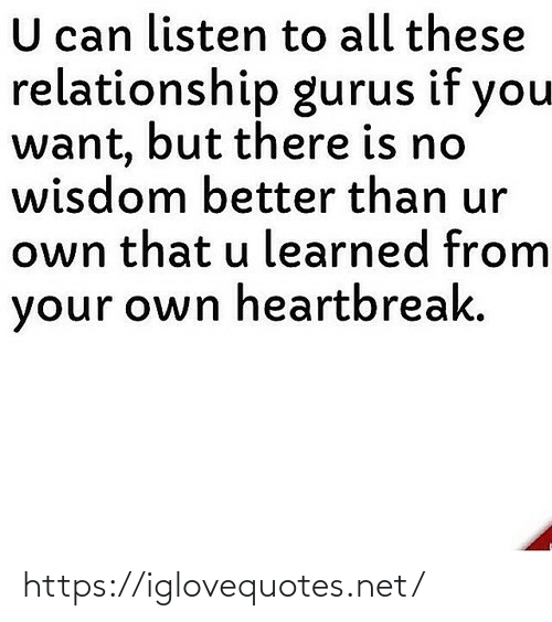 relationship: U can listen to all these  relationship gurus if you  want, but there is no  wisdom better than ur  own that u learned from  your own heartbreak. https://iglovequotes.net/