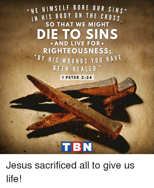 "Jesus, Life, and Memes: u HE HIM SELF BORE OUR SIN  HIS BODY ON THE CROss  SO THAT WE MIGHT  DIE TO SINS  AND LIVE FOR  RIGHTEOUSNESS  BY HIS WOUND Y OU HA  VE  BEEN HE A LED.""  1 PETER 2:24  T BN Jesus sacrificed all to give us life!"