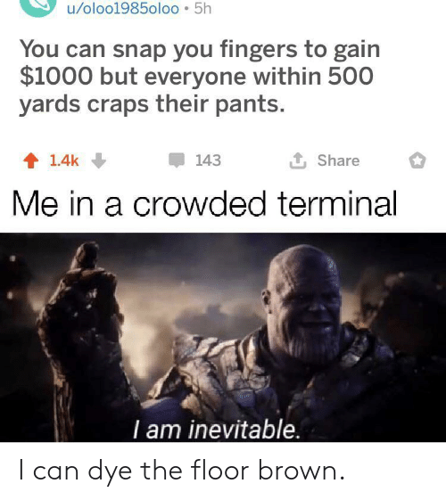 terminal: u/oloo1985oloo 5h  You can snap you fingers to gain  $1000 but everyone within 500  yards craps their pants.  L Share  143  1.4k  Me in a crowded terminal  T am inevitable. I can dye the floor brown.