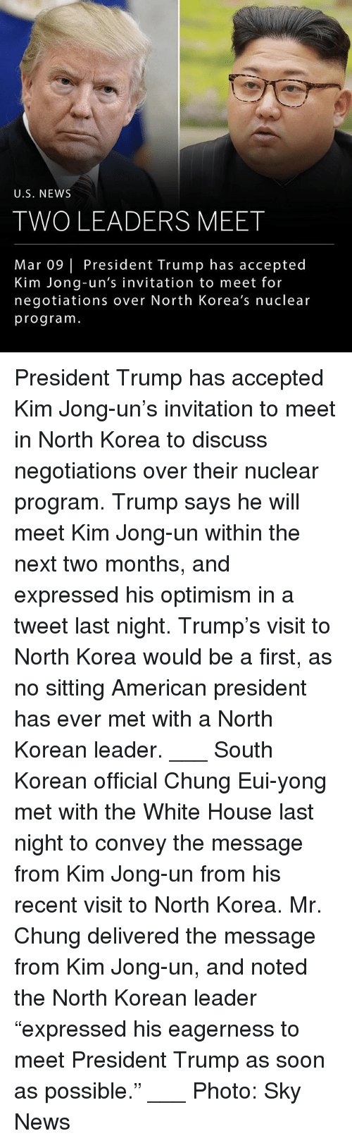 """Kim Jong-Un, Memes, and News: U.S. NEW:S  TWO LEADERS MEET  Mar 09 