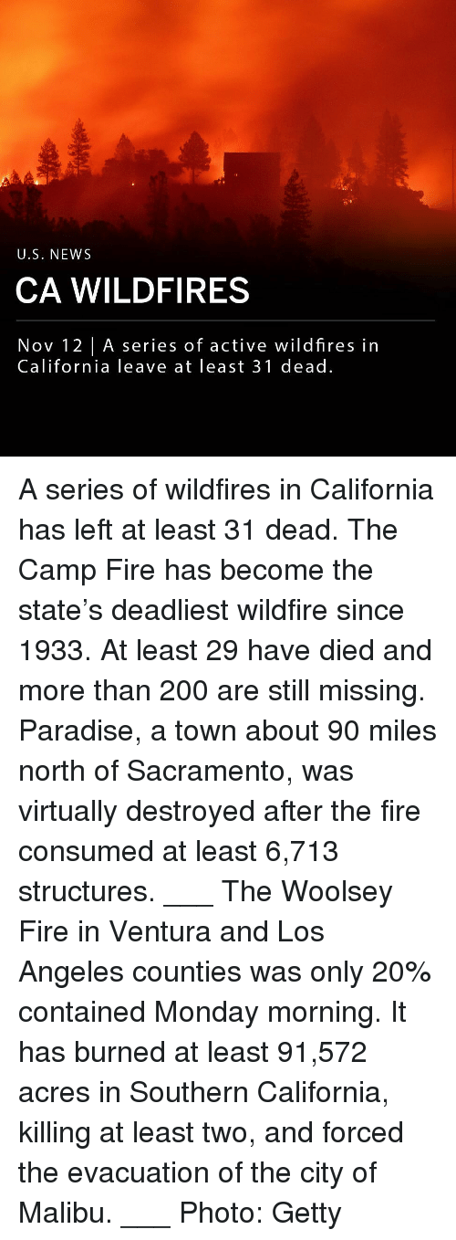 malibu: U.S. NEWS  CA WILDFIRES  Nov 12 |A series of active wildfires in  California leave at least 31 dead. A series of wildfires in California has left at least 31 dead. The Camp Fire has become the state's deadliest wildfire since 1933. At least 29 have died and more than 200 are still missing. Paradise, a town about 90 miles north of Sacramento, was virtually destroyed after the fire consumed at least 6,713 structures. ___ The Woolsey Fire in Ventura and Los Angeles counties was only 20% contained Monday morning. It has burned at least 91,572 acres in Southern California, killing at least two, and forced the evacuation of the city of Malibu. ___ Photo: Getty