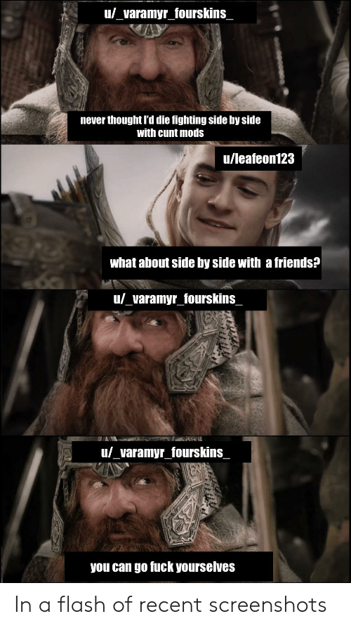 In A Flash: u_varamyr_fourskins  never thought I'd die fighting side by side  with cunt mods  u/leafeon123  what about side by side with a friends?  u/_varamyr_fourskins  u/_varamyr_fourskins  you can go fuck yourselves In a flash of recent screenshots