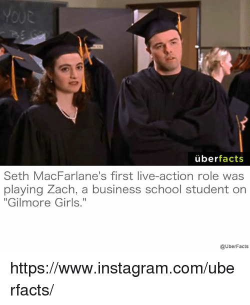 """Seth MacFarlane: uber  facts  Seth MacFarlane's first live-action role was  playing Zach, a business school student on  """"Gilmore Girls.""""  @UberFacts https://www.instagram.com/uberfacts/"""