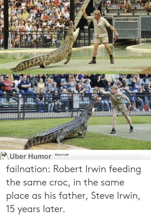 Steve Irwin: Uber Humor  Steve holt! failnation:  Robert Irwin feeding the same croc, in the same place as his father, Steve Irwin, 15 years later.