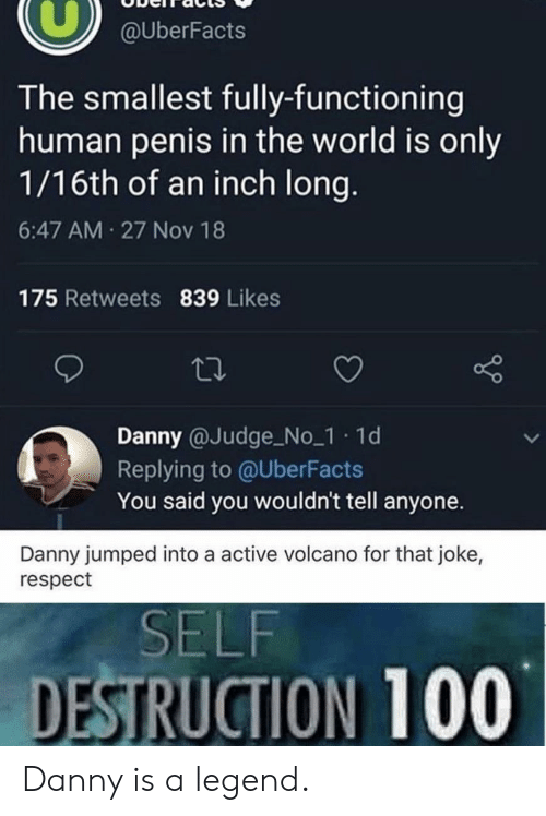 Uberfacts: @UberFacts  The smallest fully-functioning  human penis in the world is only  1/16th of an inch long.  6:47 AM 27 Nov 18  175 Retweets 839 Likes  Danny @Judge No_1 1d  Replying to @UberFacts  You said you wouldn't tell anyone.  Danny jumped into a active volcano for that joke,  respect  SELF  DESTRUCTION 100 Danny is a legend.