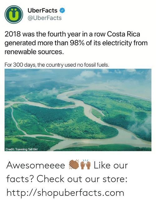 Uberfacts: UberFacts  @UberFacts  2018 was the fourth year in a row Costa Rica  generated more than 98% of its electricity from  renewable sources.  For 300 days, the country used no fossil fuels.  Credit: Traveling Tall Girl Awesomeeee 👏🏾🙌🏾  Like our facts? Check out our store: http://shopuberfacts.com