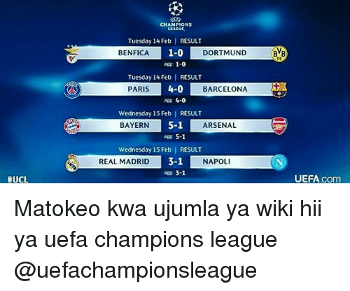 UCL CHAMPIONS LEACUE Tuesday 14 Feb RESULT 1-0 DORTMUND BENFICA Ag 1