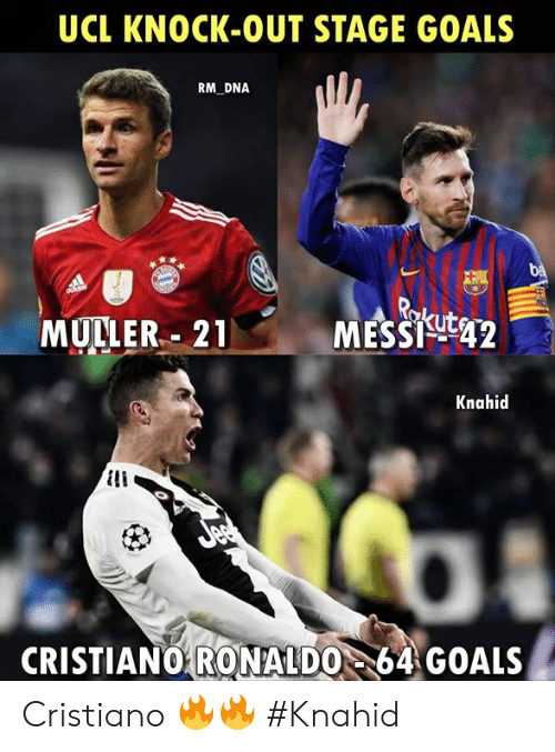 cristiano: UCL KNOCK-OUT STAGE GOALS  RM DNA  MULLER.. 21  MESSigt42  Knahid  CRISTIANO64 GOALS  RONALDO Cristiano 🔥🔥  #Knahid