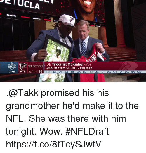 mckinley: UCLA  DE  Talkkarist McKinley  UCLA  SELECTION  DRAFT  2016 1st-team All-Pac-12 selection  LIVE  ATL  RD 1 PK 26  NEXT  BUF DAL GB  PIT SEA NO  RD2  CLE  SPE JAX CH  LA LAC NYJ CAR .@Takk promised his his grandmother he'd make it to the NFL. She was there with him tonight.  Wow. #NFLDraft https://t.co/8fTcySJwtV